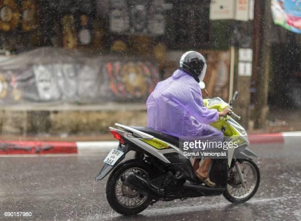 Man driving in rain