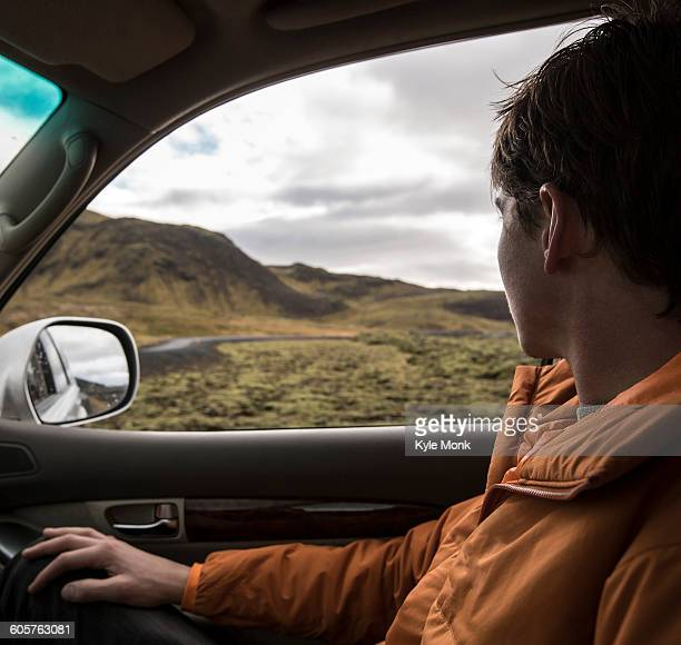 Man driving in remote landscape