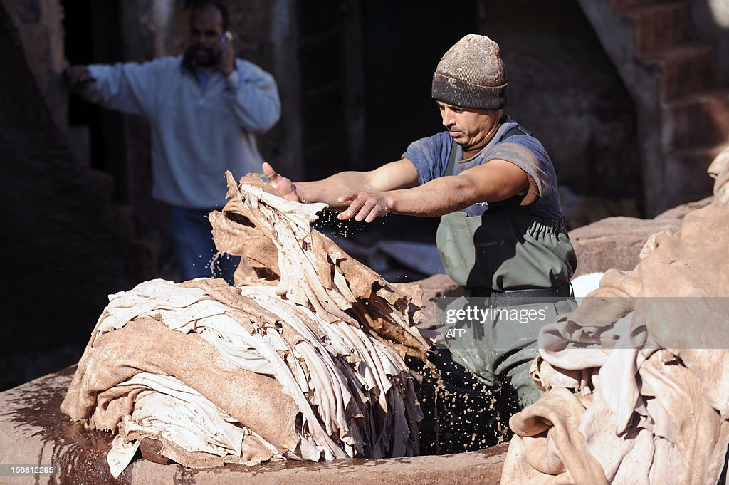 A man dyes sheepskins at the tanneries in Fes on November 21, 2012. AFP / PHOTO / FADEL