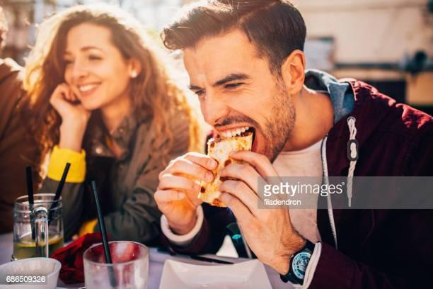Man eating at a restaurant