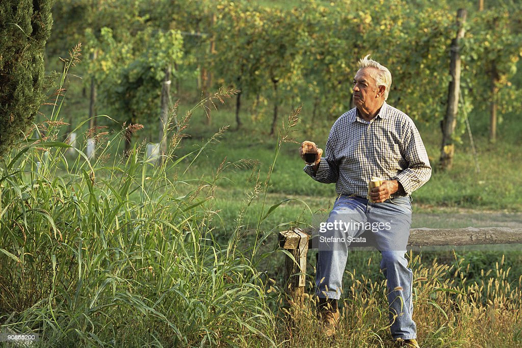 Man eating bread in vineyard : Stock Photo