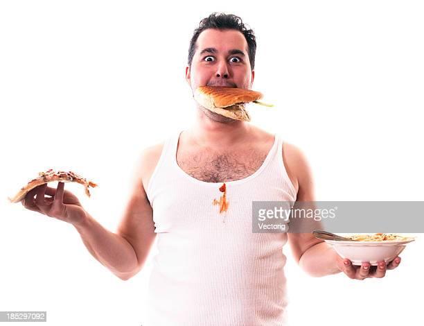Homem comer Pizza massa e Burger