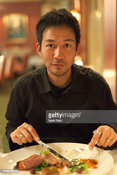 Man enjoying a restaurant meal