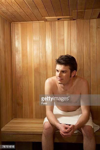 Man Enjoying a Sauna