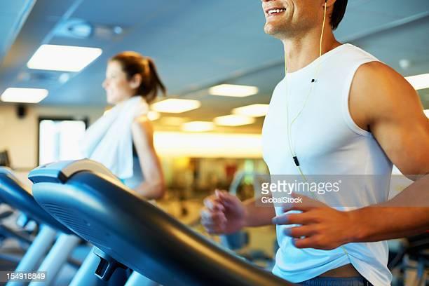 Man enjoying his run on treadmill