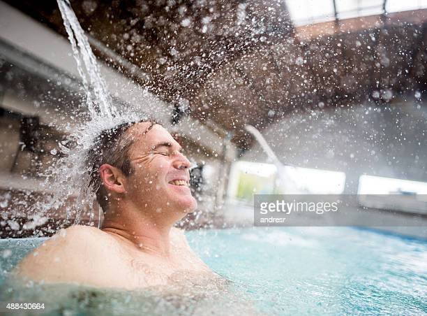 Man enjoying hydrotherapy at the spa