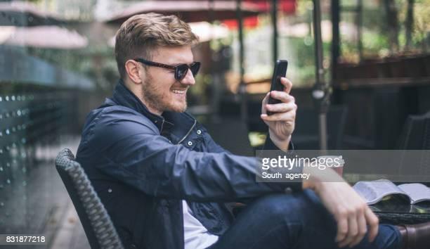 Man enjoying in cafe