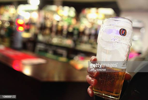 A man enjoys a pint of lager in a Govan pub on November 10 2010 in Glasgow Scotland MSP's are set to vote on the SNP government's Alcohol Bill aimed...