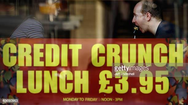 A man enjoys his credit crunch lunch at a pub in Edinburgh on November 14 2008 in Edinburgh Scotland With a high likelihood of the Scottish economy...