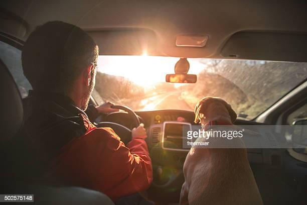 Mann genießt die Fahrt nach Hause, als er seinen Hund