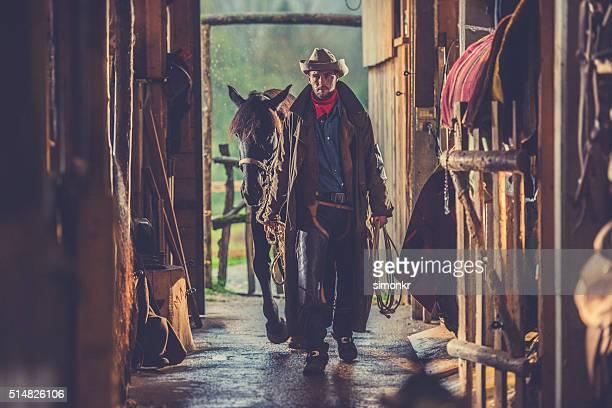 Man entering in barn