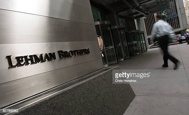 A man enters an annex office for Lehman Brothers September 12 2008 in New York The no 4 US investment bank is currently searching Wall Street for a...