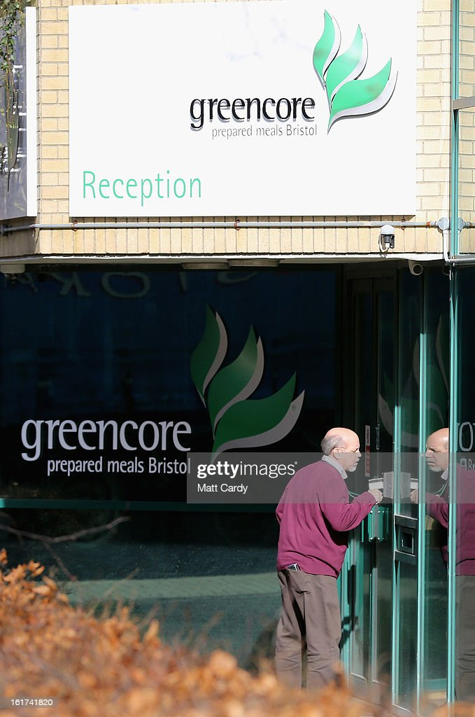A man enters the Greencore factory building on February 15, 2013 in Bristol, England. The convenience food manufacturer Greencore has been named in the ongoing horse meat scandal after traces of equine DNA were found in beef bolognese sauce that it sold to Asda.