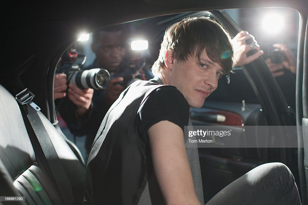 Man exiting limo : Stock Photo