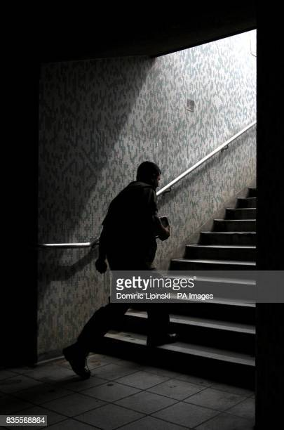 A man exits a subway at Monument Underground station in central London as a 48 hour strike by the RMT union causes widespread disruption to the...