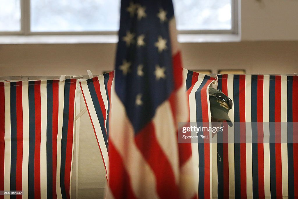 A man exits a voting booth inside of a middle school serving as a voting station on the day of the New Hampshire Primary on February 9, 2016 in Bow, New Hampshire. After months of campaigning, voters across New Hampshire get to go to the polls today to vote for Democratic and Republican presidential candidates. Following New Hampshire, the race for the presidency moves to South Carolina.
