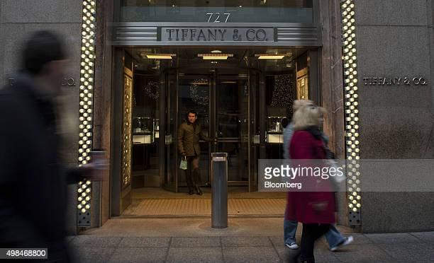 A man exits the Tiffany Co flagship store on 5th Avenue in New York US on Sunday Nov 22 2015 Tiffany Co is scheduled to report earnings figures on...