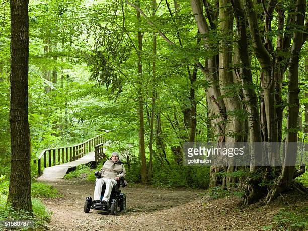 Homme à explorer la forrest dans une chaise roulante électrique