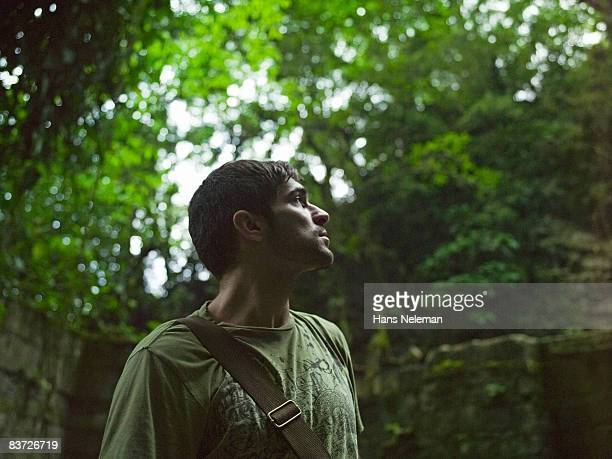 Man exploring in jungle, looking up