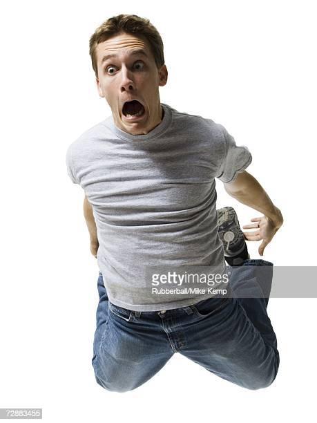 Man falling and screaming