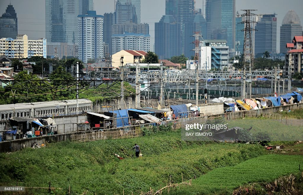 A man farms on a river bank before the city skyline in Jakarta on June 30, 2016. Indonesia launched a tax amnesty in a bid to give Southeast Asias top economy a multibillion-dollar boost, defying criticism the move will let evaders off the hook. / AFP / BAY