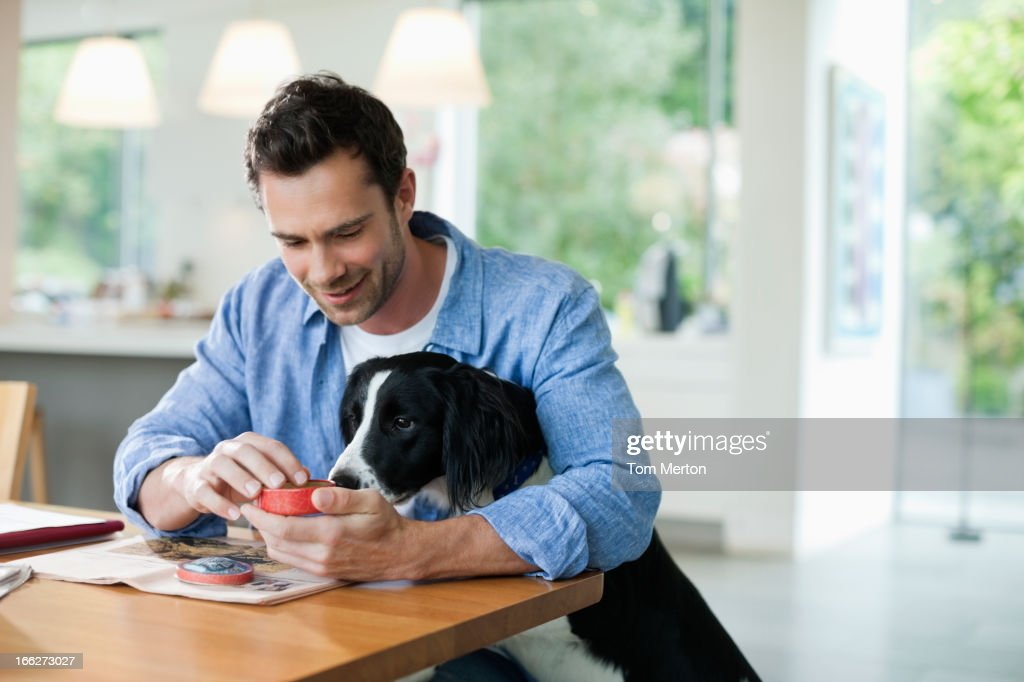 Man feeding dog at kitchen table : Stock Photo