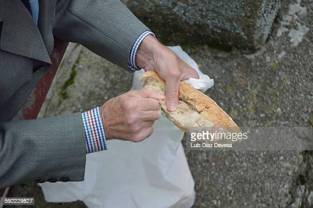 Man feeding pigeons and ducks