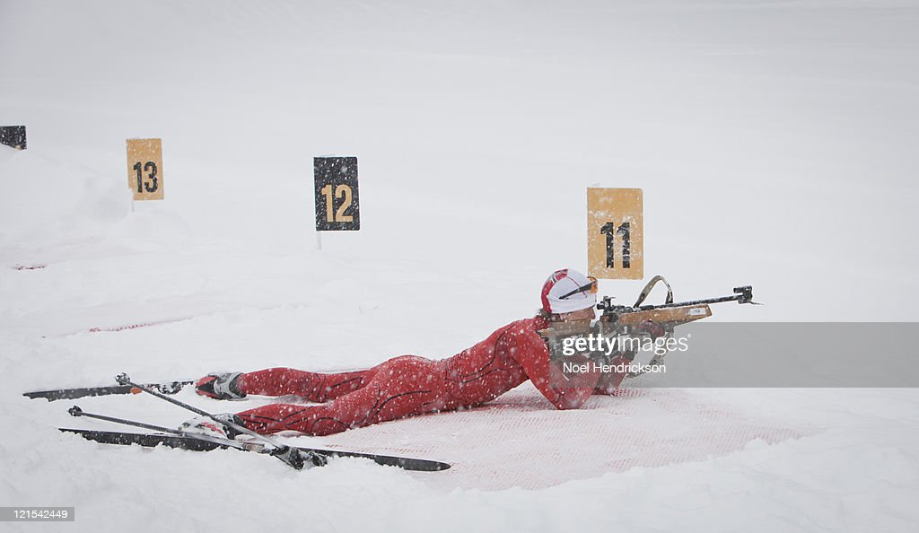 Man fires biathlon rifle