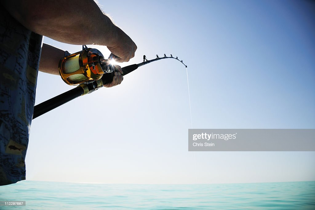 Man fishing on the open water
