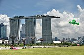 A man flies his fish shape kite near to the Marina Bay Sands hotel resorts in Singapore on August 11 2014 Singapore's tradesensitive economy grew 35...