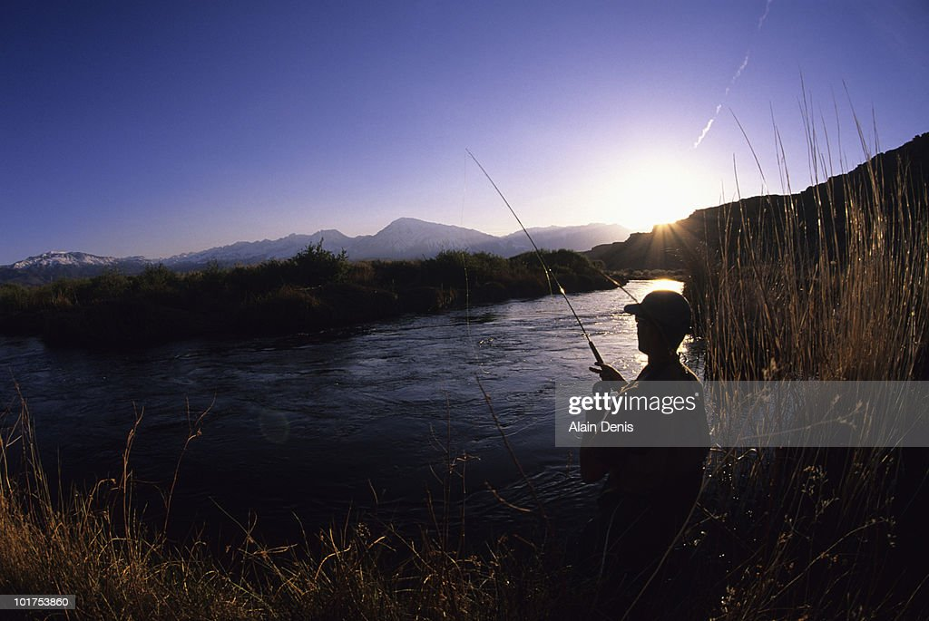 A man fly fishing in bishop california stock photo getty for Bishop ca fishing