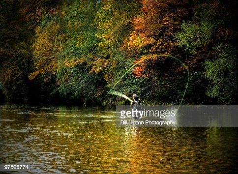 Man Fly Fishing : Stock Photo
