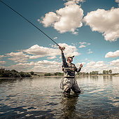 Man flycasting on Big Horn River.