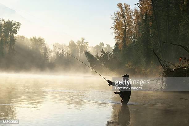 Man flyfishing in Elk River near Fernie