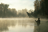 Man fly-fishing in Elk river