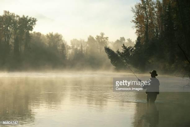Man fly-fishing in Elk river