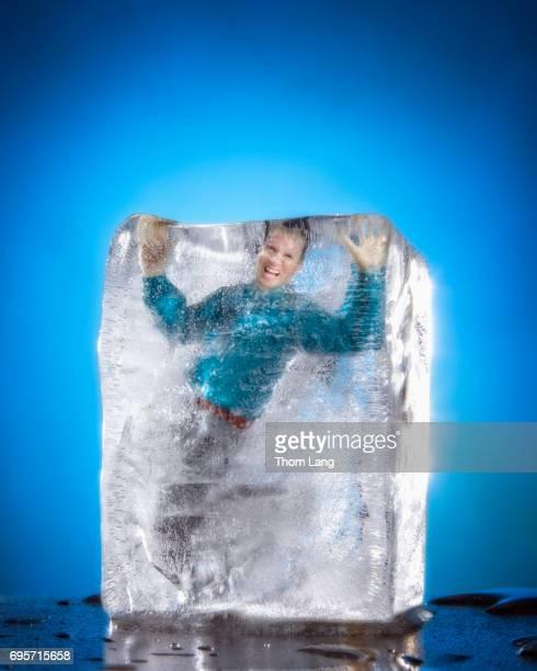 Man Frozen in Block of Ice