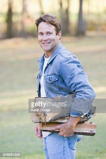 Man Gathering Firewood