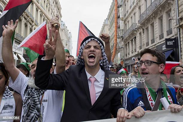 A man gestures and shouts as he takes part in a demonstration in Lyon centraleastern France on July 19 2014 to protest Israel's military campaign in...