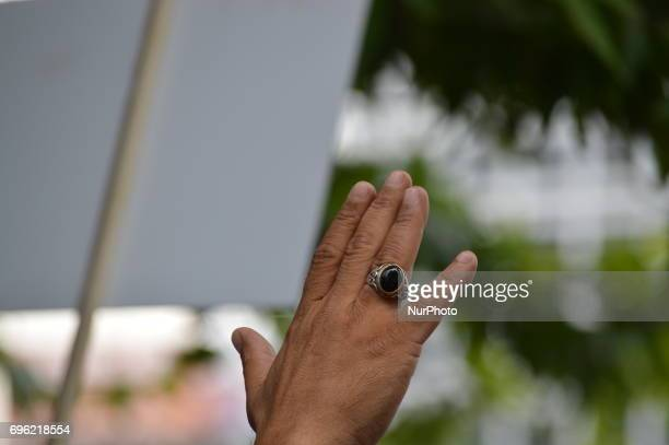 A man gestures during the 'Justice March' to protest against the Turkish government held by the main opposition Republican People's Party in Ankara...
