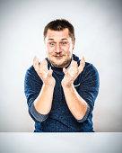 Man Gesturing Desk Portrait