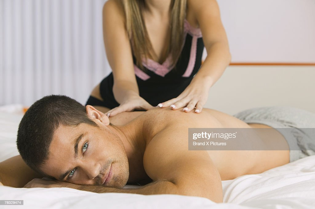 Man getting a back massage : Stock Photo