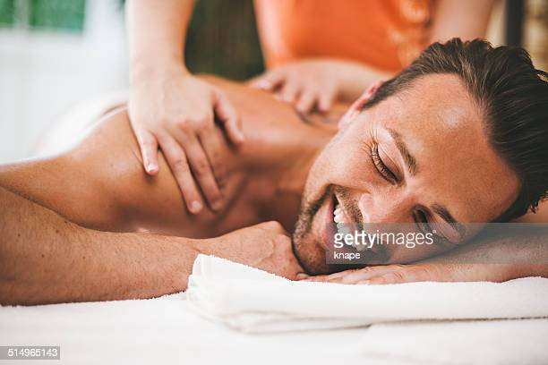 Man getting a massage at the healthspa