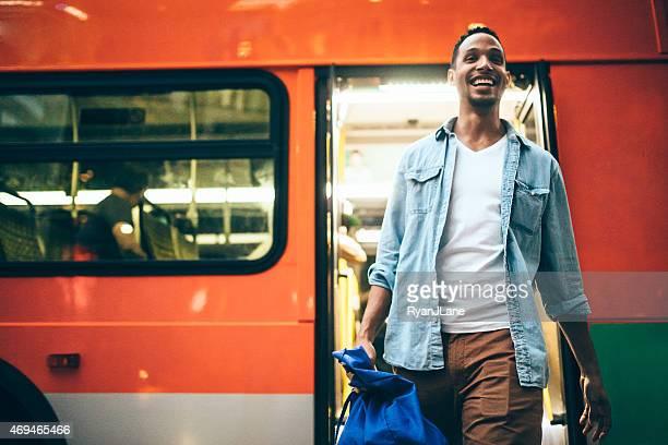 Man Getting Off City Metro Bus