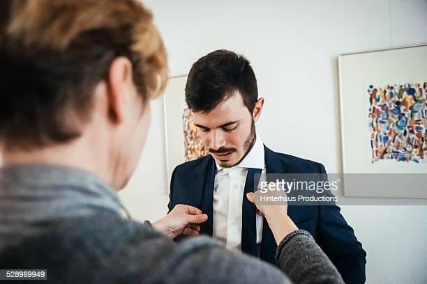 Man Getting Prepared For Wedding Ceremony