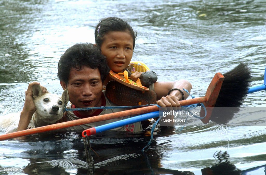 A man girl and dog cross deep water at Sirombu village December 29 2004 in Nias North Sumatra Indonesia Tens of thousands of people have been killed...