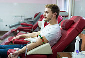 Man giving blood donation