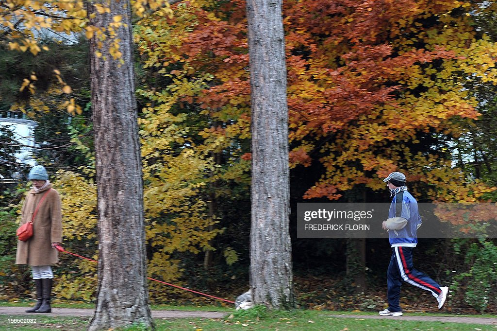 A man (R) goes jogging at the Orangerie's park in Strasbourg, eastern France, on November 15, 2012. The city of Strasbourg is experimenting a 'sports on medical prescription' health programme, for people suffering from cardiac disorders. AFP PHOTO/FREDERICK FLORIN