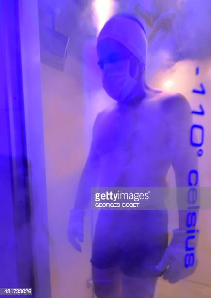BAERT A man goes out of a 'whole body cryotherapy cabin' after undergoing a cryotherapy session at 110 degrees Celsius below zero at the 'Kemijoki'...