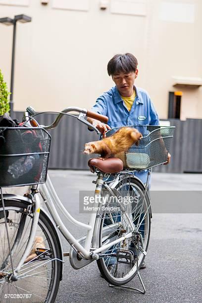 Man grabbing ferret on bicycle